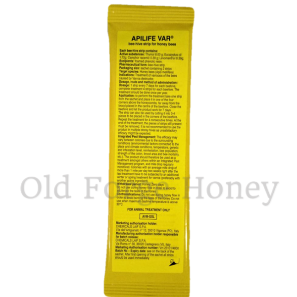 Api Life Var – 2 Sachets (Full Treatment for One Colony) – Free Postage
