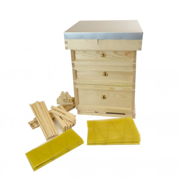 Complete B.S National 14×12 Wooden Hive (Assembled, Pine) with Frames & Foundation (Flat)